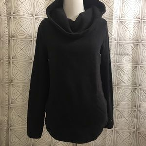 Black Pullover Sweater w/ Pockets & Cowl Neck